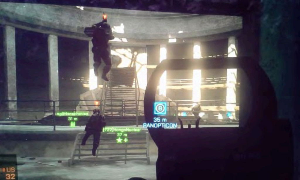 Figure 1 Battlefield 4: Operation Locker: Enemies raining down on me in a bombed-out Panopticon.
