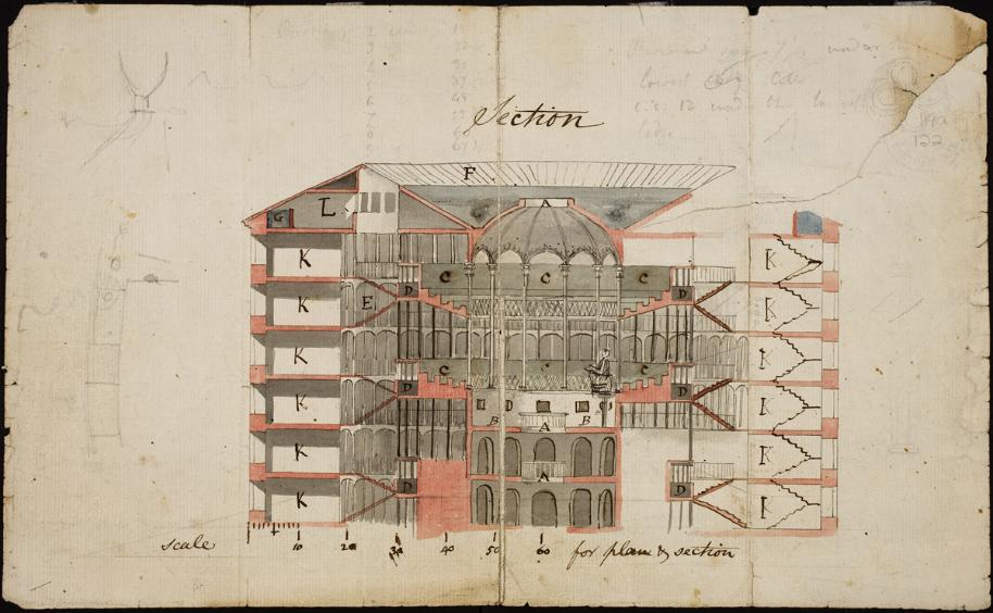 Figure 16 Color illustration of Panopticon by Reveley. ca. 1791. (Courtesy of UCL Special Collections Digital Gallery).