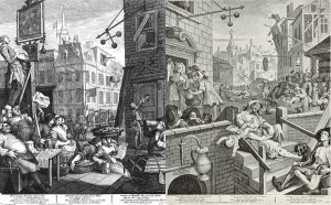"Figure 24 ""… rising numbers of poor and indigent…"" A common, if mythical, perception of the ill famed, Gin Alley, ca. 1751."