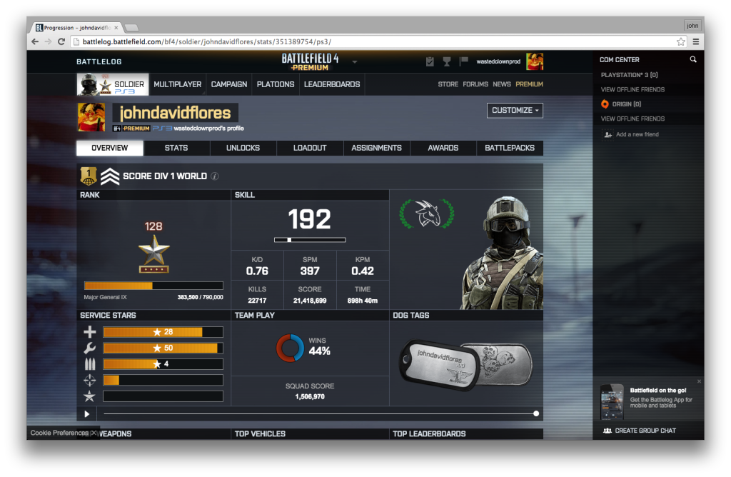 """Figure 8 """"Battlelog"""" provides detailed statistics on a player's daily and aggregate performance and compares these with the global community of active players. It also publicly recognizes exceptional, individual and """"squad"""" achievement. (PSN: JOHNDAVIDFLORES)"""
