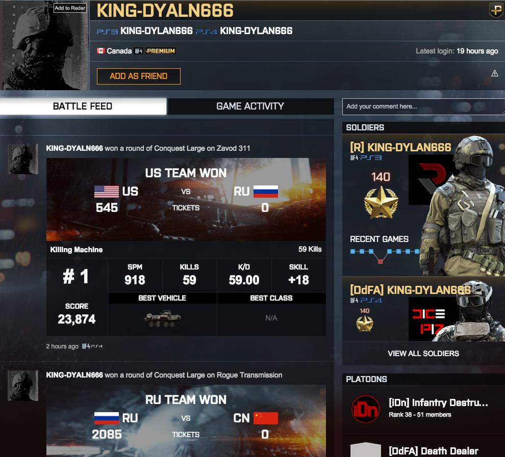 Figura 2: La página de lanzamiento del King en Battlelog.